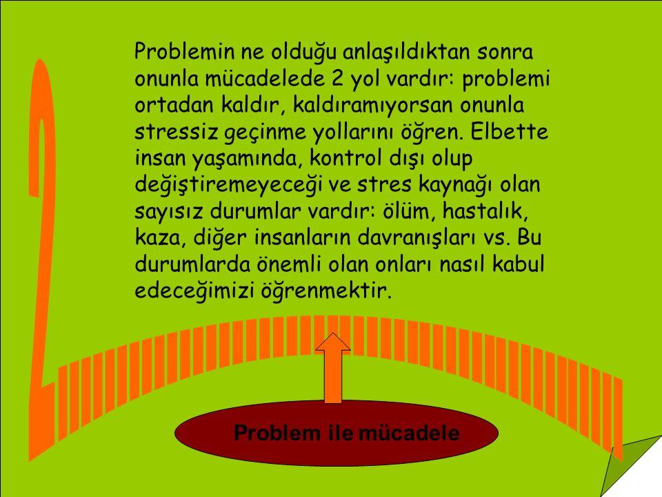 Problem Çözme Teknikleri Kullanma: En çok kontrol edilebilecek sorunlar üzerinde kullanılır.