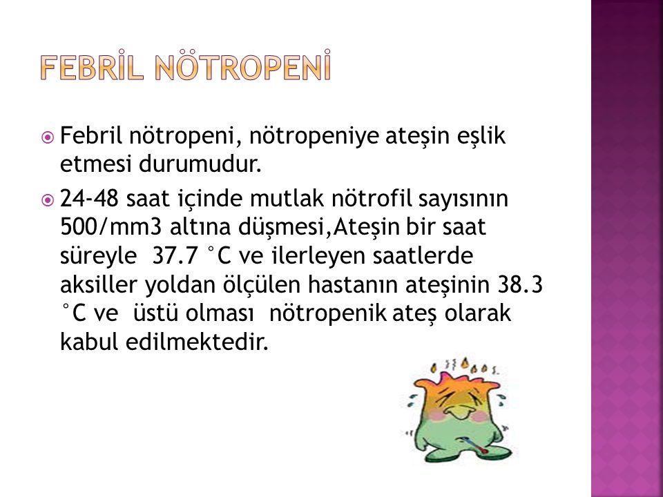  Febril nötropeni, nötropeniye ateşin eşlik etmesi durumudur.  24-48 saat içinde mutlak nötrofil sayısının 500/mm3 altına düşmesi,Ateşin bir saat sü