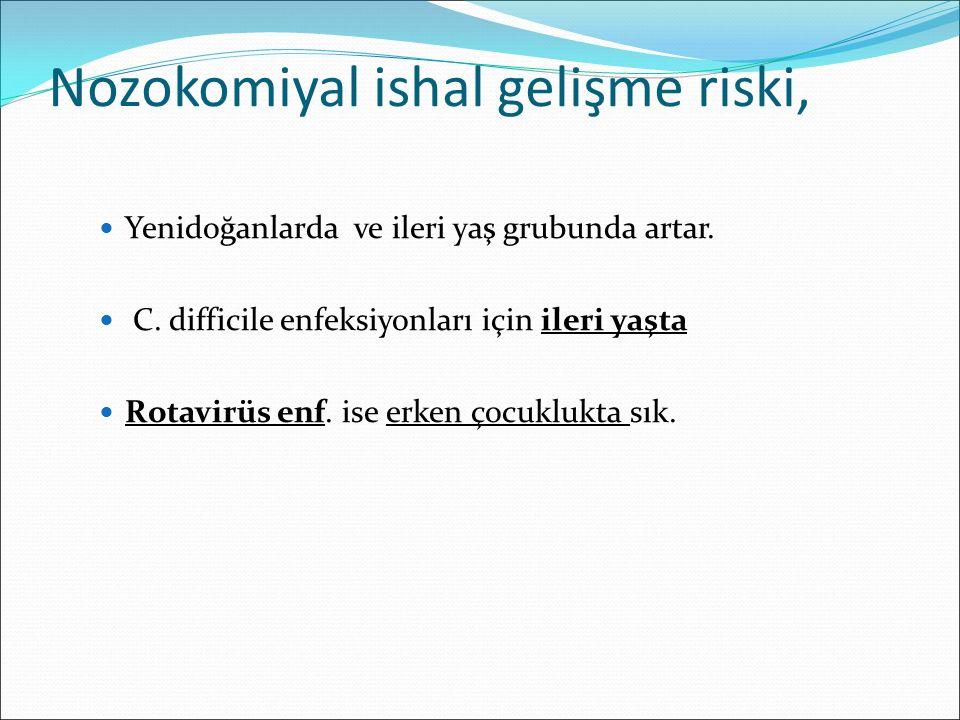 Nozokomiyal ishal gelişme riski, Yenidoğanlarda ve ileri yaş grubunda artar. C. difficile enfeksiyonları için ileri yaşta Rotavirüs enf. ise erken çoc