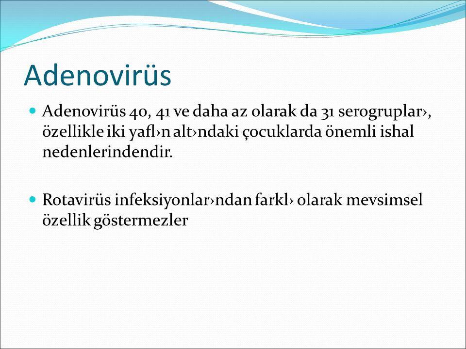 Adenovirüs Adenovirüs 40, 41 ve daha az olarak da 31 serogruplar›, özellikle iki yafl›n alt›ndaki çocuklarda önemli ishal nedenlerindendir. Rotavirüs i