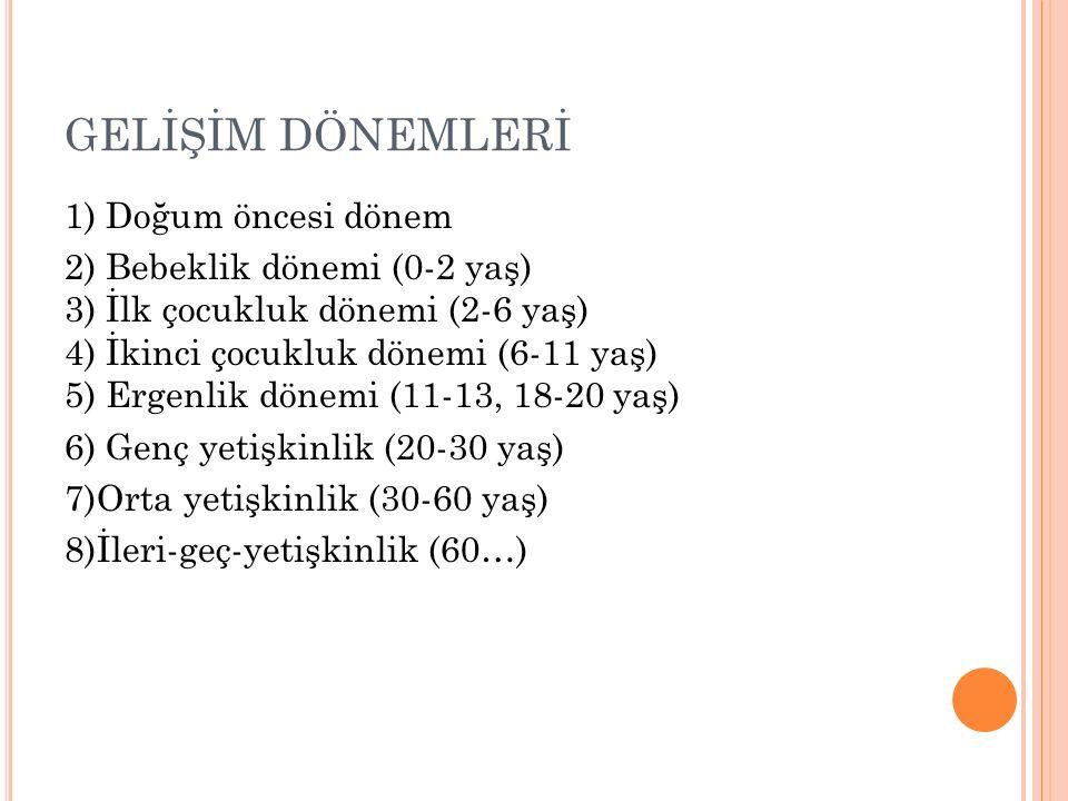 GELİŞİM DÖNEMLERİ 1) Doğum öncesi dönem 2) Bebeklik dönemi (0-2 yaş) 3) İlk çocukluk dönemi (2-6 yaş) 4) İkinci çocukluk dönemi (6-11 yaş) 5) Ergenlik dönemi (11-13, 18-20 yaş) 6) Genç yetişkinlik (20-30 yaş) 7)Orta yetişkinlik (30-60 yaş) 8)İleri-geç-yetişkinlik (60…)