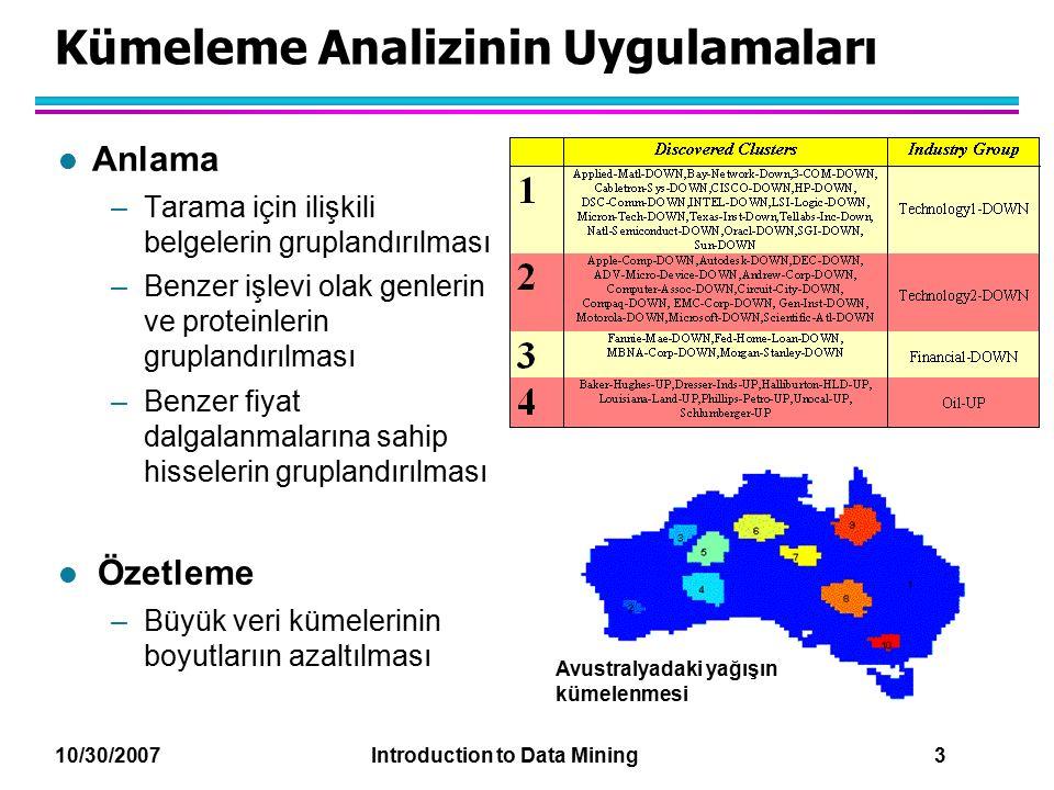 10/30/2007 Introduction to Data Mining 3 Kümeleme Analizinin Uygulamaları l Anlama –Tarama için ilişkili belgelerin gruplandırılması –Benzer işlevi ol