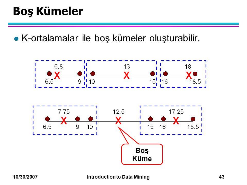 10/30/2007 Introduction to Data Mining 43 Boş Kümeler l K-ortalamalar ile boş kümeler oluşturabilir. Boş Küme