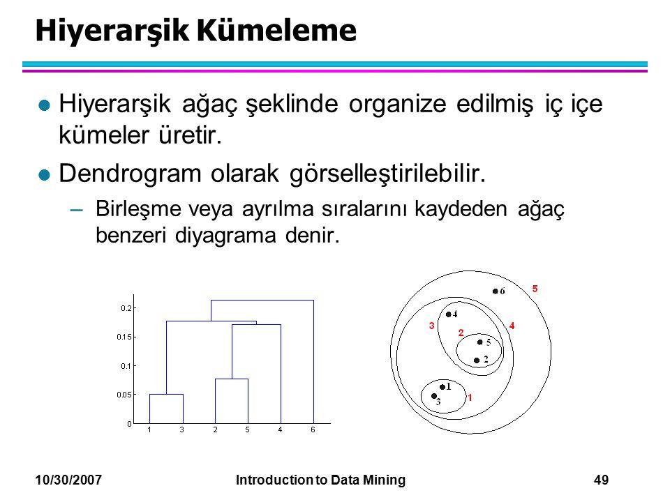 10/30/2007 Introduction to Data Mining 49 Hiyerarşik Kümeleme l Hiyerarşik ağaç şeklinde organize edilmiş iç içe kümeler üretir. l Dendrogram olarak g