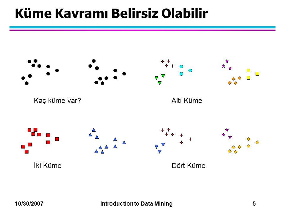 10/30/2007 Introduction to Data Mining 26 K-ortalamaların Eksiklikleri l K-ortalamaların kümelerin aşağıdaki farklılıklarından dolayı bazı problemleri vardır.