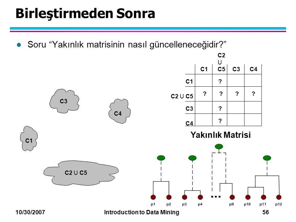 """10/30/2007 Introduction to Data Mining 56 Birleştirmeden Sonra l Soru """"Yakınlık matrisinin nasıl güncelleneceğidir?"""" C1 C4 C2 U C5 C3 ? ? ? ? ? C2 U C"""