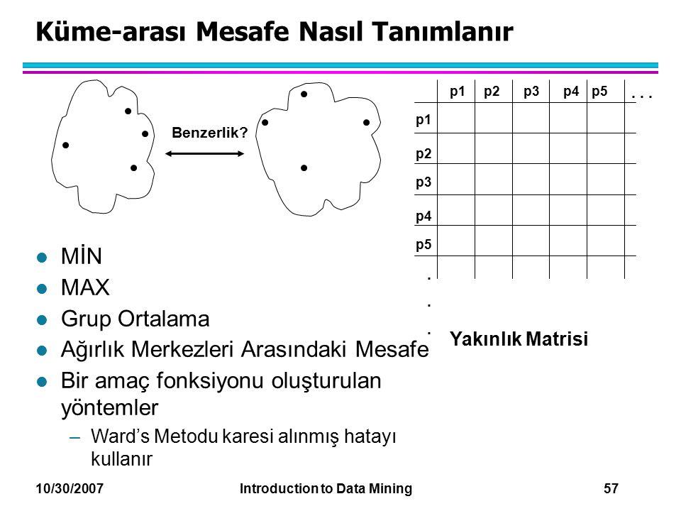 10/30/2007 Introduction to Data Mining 57 Küme-arası Mesafe Nasıl Tanımlanır p1 p3 p5 p4 p2 p1p2p3p4p5......... Benzerlik? l MİN l MAX l Grup Ortalama