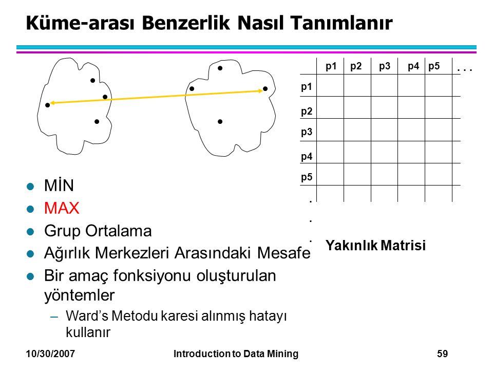 10/30/2007 Introduction to Data Mining 59 Küme-arası Benzerlik Nasıl Tanımlanır p1 p3 p5 p4 p2 p1p2p3p4p5......... Yakınlık Matrisi l MİN l MAX l Grup