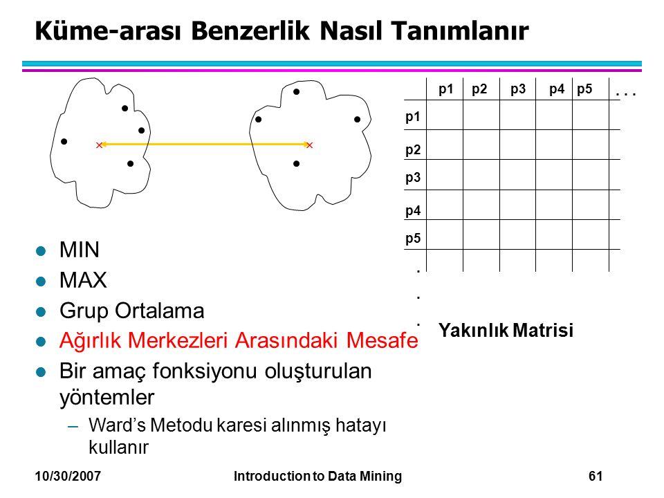 10/30/2007 Introduction to Data Mining 61 Küme-arası Benzerlik Nasıl Tanımlanır p1 p3 p5 p4 p2 p1p2p3p4p5......... Yakınlık Matrisi l MIN l MAX l Grup