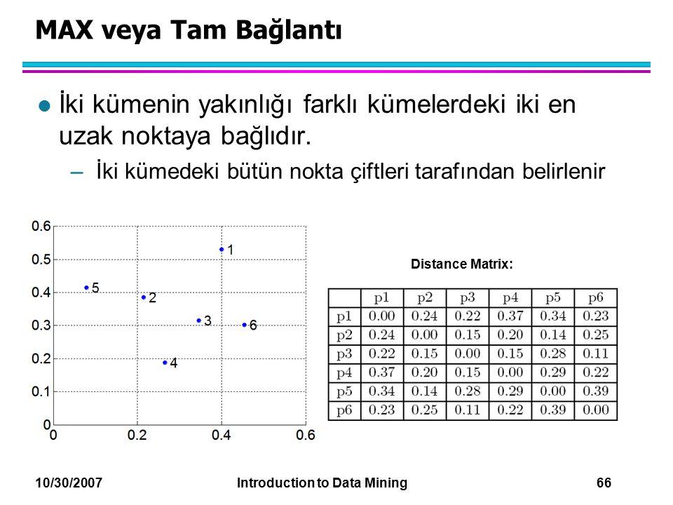10/30/2007 Introduction to Data Mining 66 MAX veya Tam Bağlantı l İki kümenin yakınlığı farklı kümelerdeki iki en uzak noktaya bağlıdır. –İki kümedeki