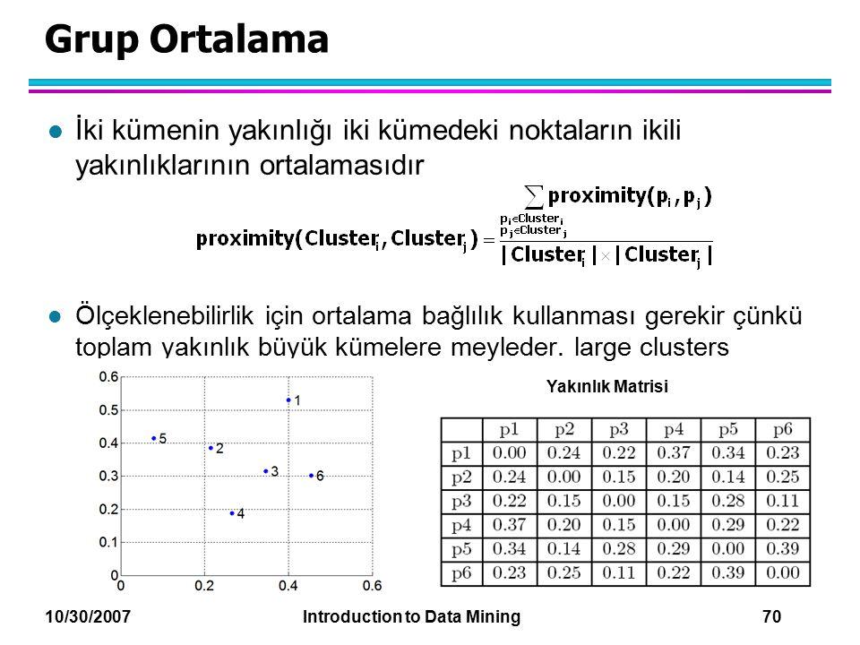 10/30/2007 Introduction to Data Mining 70 Grup Ortalama l İki kümenin yakınlığı iki kümedeki noktaların ikili yakınlıklarının ortalamasıdır l Ölçeklen