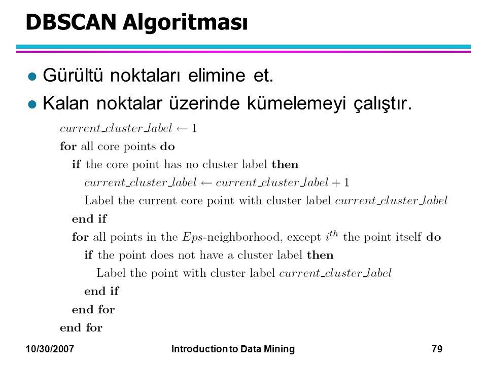 10/30/2007 Introduction to Data Mining 79 DBSCAN Algoritması l Gürültü noktaları elimine et. l Kalan noktalar üzerinde kümelemeyi çalıştır.