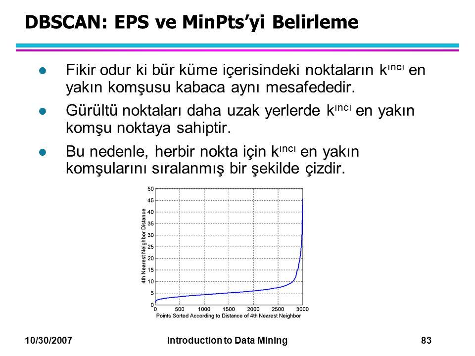 10/30/2007 Introduction to Data Mining 83 DBSCAN: EPS ve MinPts'yi Belirleme l Fikir odur ki bür küme içerisindeki noktaların k ıncı en yakın komşusu