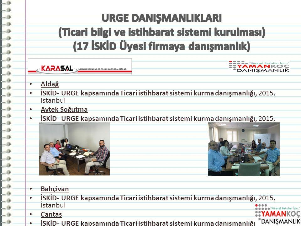 Aldağ İSKİD- URGE kapsamında Ticari istihbarat sistemi kurma danışmanlığı, 2015, İstanbul Aytek Soğutma İSKİD- URGE kapsamında Ticari istihbarat sistemi kurma danışmanlığı, 2015, İstanbul Bahçivan İSKİD- URGE kapsamında Ticari istihbarat sistemi kurma danışmanlığı, 2015, İstanbul Cantaş İSKİD- URGE kapsamında Ticari istihbarat sistemi kurma danışmanlığı, 2015, İstanbul