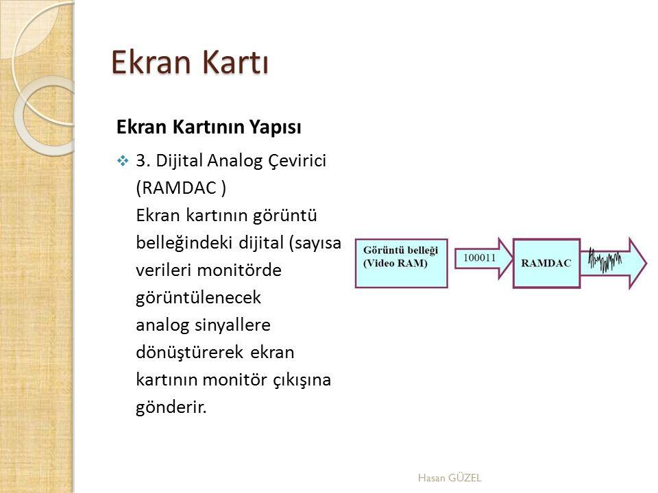 Ekran Kartı Ekran Kartının Yapısı  3. Dijital Analog Çevirici (RAMDAC ) Ekran kartının görüntü belleğindeki dijital (sayısal) verileri monitörde görü