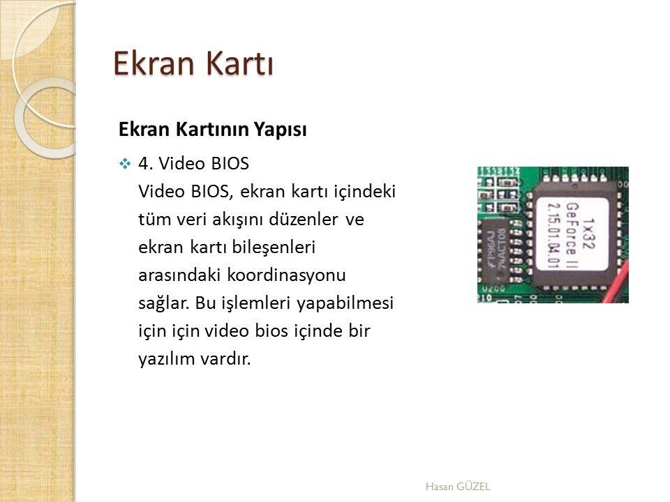Ekran Kartı Ekran Kartının Yapısı  4. Video BIOS Video BIOS, ekran kartı içindeki tüm veri akışını düzenler ve ekran kartı bileşenleri arasındaki koo