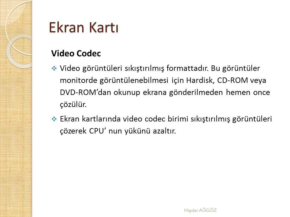 Ekran Kartı Video Codec  Video görüntüleri sıkıştırılmış formattadır. Bu görüntüler monitorde görüntülenebilmesi için Hardisk, CD-ROM veya DVD-ROM'da