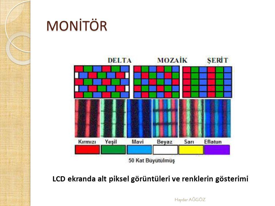 MONİTÖR LCD ekranda alt piksel görüntüleri ve renklerin gösterimi Haydar A Ğ GÖZ