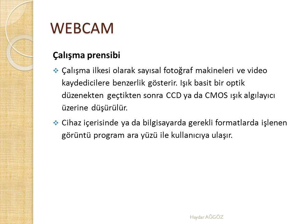 WEBCAM Çalışma prensibi  Çalışma ilkesi olarak sayısal fotoğraf makineleri ve video kaydedicilere benzerlik gösterir. Işık basit bir optik düzenekten