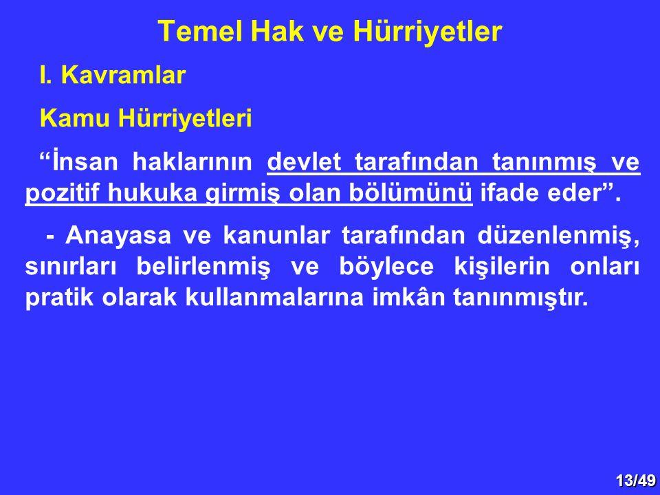 """13/49 I. Kavramlar Kamu Hürriyetleri """"İnsan haklarının devlet tarafından tanınmış ve pozitif hukuka girmiş olan bölümünü ifade eder"""". - Anayasa ve kan"""