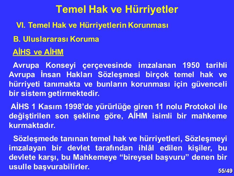 55/49 VI. Temel Hak ve Hürriyetlerin Korunması B. Uluslararası Koruma AİHS ve AİHM Avrupa Konseyi çerçevesinde imzalanan 1950 tarihli Avrupa İnsan Hak
