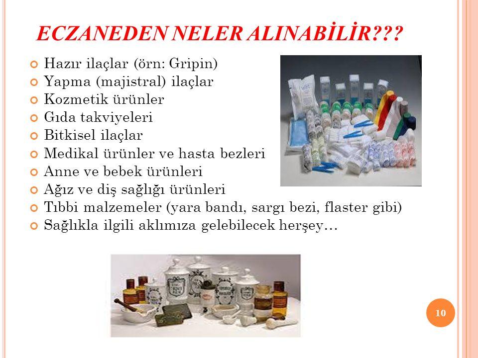 ECZANEDEN NELER ALINABİLİR??? Hazır ilaçlar (örn: Gripin) Yapma (majistral) ilaçlar Kozmetik ürünler Gıda takviyeleri Bitkisel ilaçlar Medikal ürünler