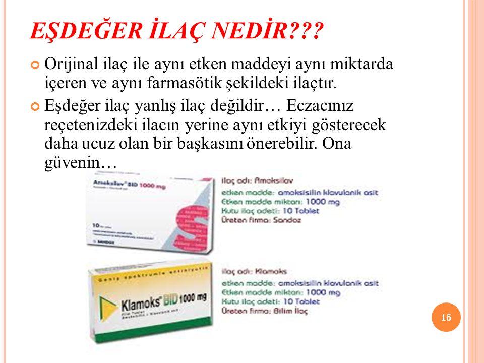 EŞDEĞER İLAÇ NEDİR??? Orijinal ilaç ile aynı etken maddeyi aynı miktarda içeren ve aynı farmasötik şekildeki ilaçtır. Eşdeğer ilaç yanlış ilaç değildi