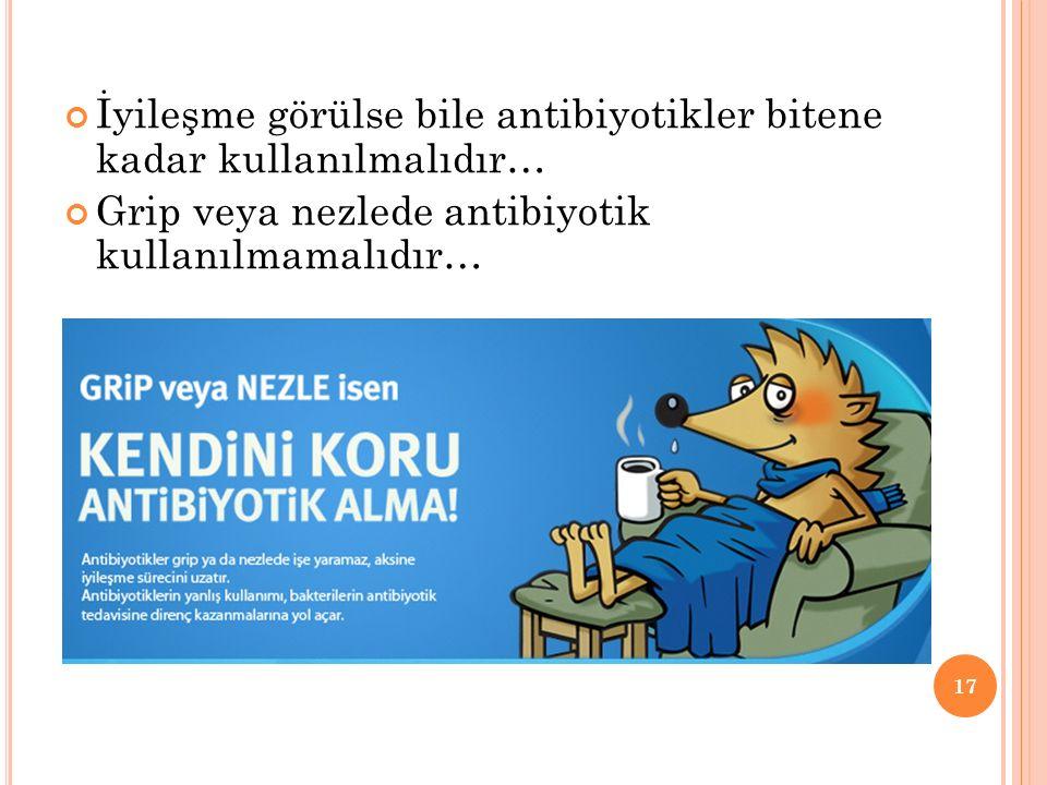İyileşme görülse bile antibiyotikler bitene kadar kullanılmalıdır… Grip veya nezlede antibiyotik kullanılmamalıdır… 17