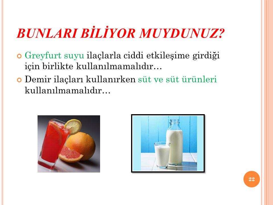 BUNLARI BİLİYOR MUYDUNUZ? Greyfurt suyu ilaçlarla ciddi etkileşime girdiği için birlikte kullanılmamalıdır… Demir ilaçları kullanırken süt ve süt ürün