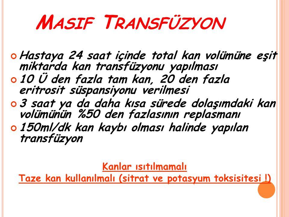 M ASIF T RANSFÜZYON Hastaya 24 saat içinde total kan volümüne eşit miktarda kan transfüzyonu yapılması 10 Ü den fazla tam kan, 20 den fazla eritrosit