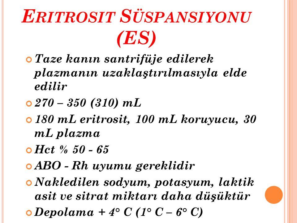 E RITROSIT S ÜSPANSIYONU (ES) Taze kanın santrifüje edilerek plazmanın uzaklaştırılmasıyla elde edilir 270 – 350 (310) mL 180 mL eritrosit, 100 mL kor