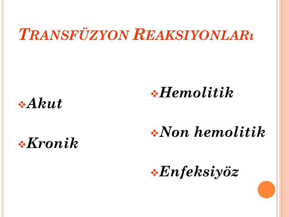 T RANSFÜZYON R EAKSIYONLARı  Akut  Kronik  Hemolitik  Non hemolitik  Enfeksiyöz