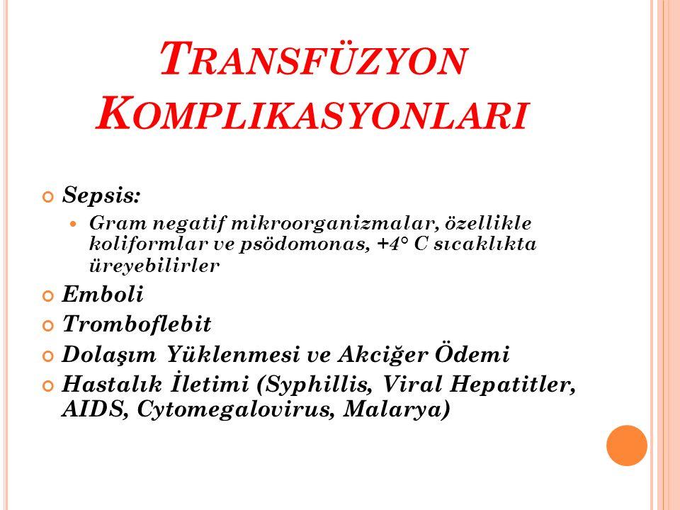 T RANSFÜZYON K OMPLIKASYONLARI Sepsis: Gram negatif mikroorganizmalar, özellikle koliformlar ve psödomonas, +4° C sıcaklıkta üreyebilirler Emboli Trom