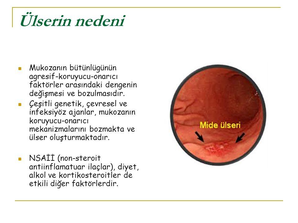 Ülserin nedeni Mukozanın bütünlügünün agresif-koruyucu-onarıcı faktörler arasındaki dengenin değişmesi ve bozulmasıdır. Çeşitli genetik, çevresel ve i