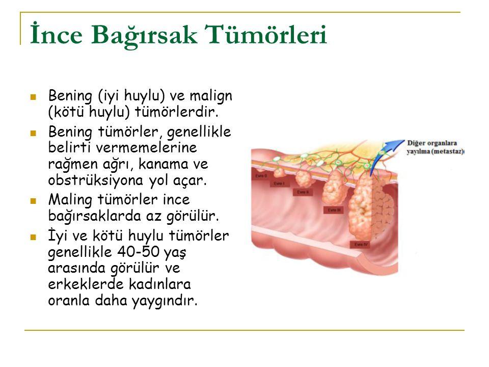 İnce Bağırsak Tümörleri Bening (iyi huylu) ve malign (kötü huylu) tümörlerdir. Bening tümörler, genellikle belirti vermemelerine rağmen ağrı, kanama v