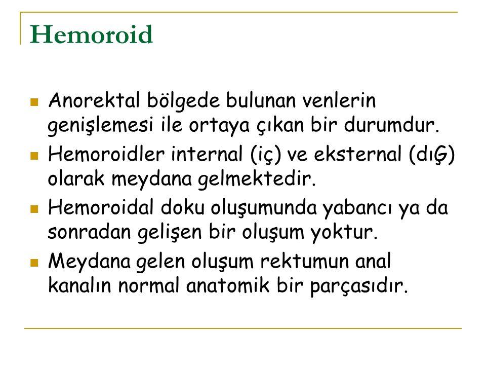 Hemoroid Anorektal bölgede bulunan venlerin genişlemesi ile ortaya çıkan bir durumdur. Hemoroidler internal (iç) ve eksternal (dıĢ) olarak meydana gel