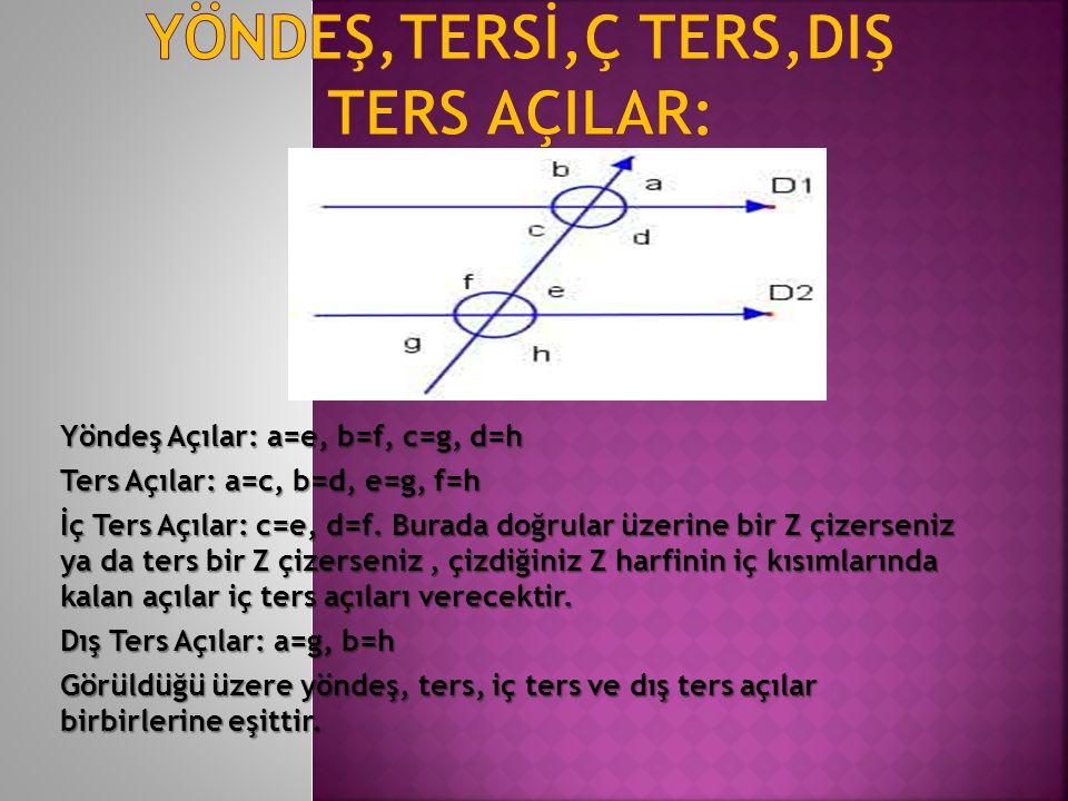 Yöndeş Açılar: a=e, b=f, c=g, d=h Ters Açılar: a=c, b=d, e=g, f=h İç Ters Açılar: c=e, d=f. Burada doğrular üzerine bir Z çizerseniz ya da ters bir Z