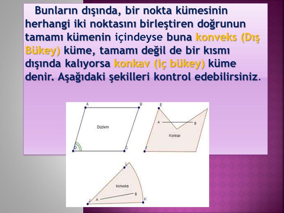 Bunların dışında, bir nokta kümesinin herhangi iki noktasını birleştiren doğrunun tamamı kümenin buna konveks (Dış Bükey) küme, tamamı değil de bir kı