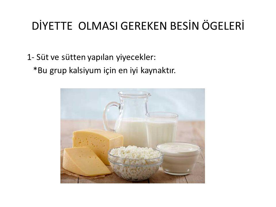 DİYETTE OLMASI GEREKEN BESİN ÖGELERİ 1- Süt ve sütten yapılan yiyecekler: *Bu grup kalsiyum için en iyi kaynaktır.