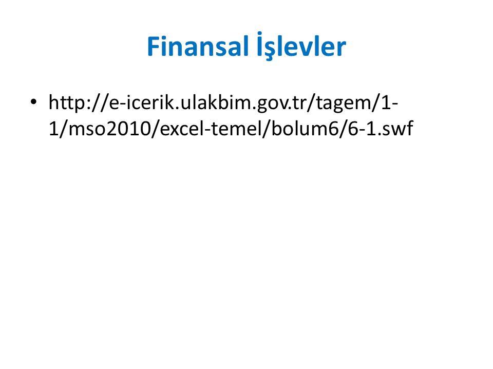 Finansal İşlevler http://e-icerik.ulakbim.gov.tr/tagem/1- 1/mso2010/excel-temel/bolum6/6-1.swf