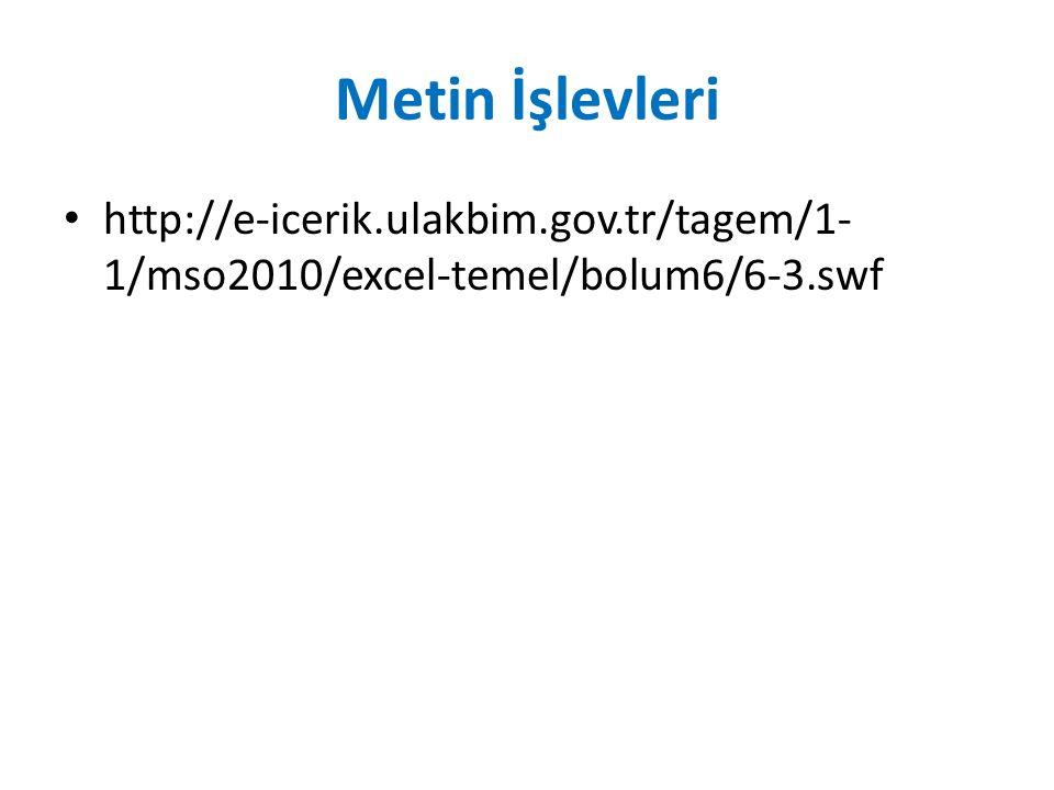 Metin İşlevleri http://e-icerik.ulakbim.gov.tr/tagem/1- 1/mso2010/excel-temel/bolum6/6-3.swf