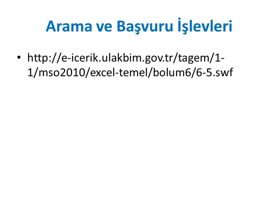 Arama ve Başvuru İşlevleri http://e-icerik.ulakbim.gov.tr/tagem/1- 1/mso2010/excel-temel/bolum6/6-5.swf