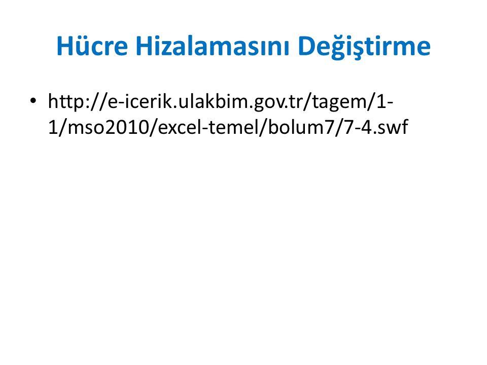 Hücre Hizalamasını Değiştirme http://e-icerik.ulakbim.gov.tr/tagem/1- 1/mso2010/excel-temel/bolum7/7-4.swf