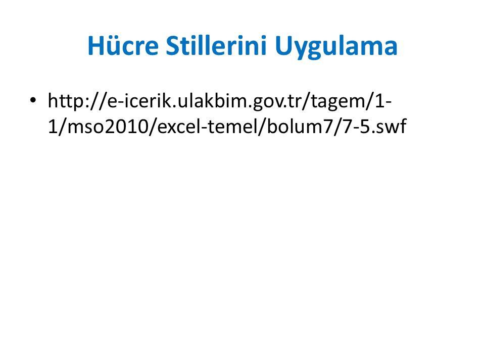 Hücre Stillerini Uygulama http://e-icerik.ulakbim.gov.tr/tagem/1- 1/mso2010/excel-temel/bolum7/7-5.swf