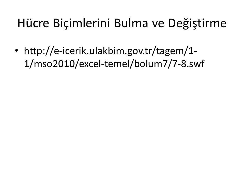 Hücre Biçimlerini Bulma ve Değiştirme http://e-icerik.ulakbim.gov.tr/tagem/1- 1/mso2010/excel-temel/bolum7/7-8.swf