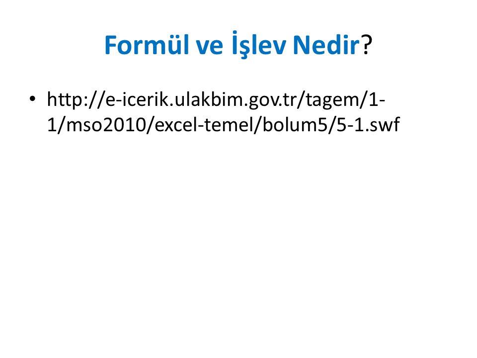 Formül ve İşlev Nedir http://e-icerik.ulakbim.gov.tr/tagem/1- 1/mso2010/excel-temel/bolum5/5-1.swf