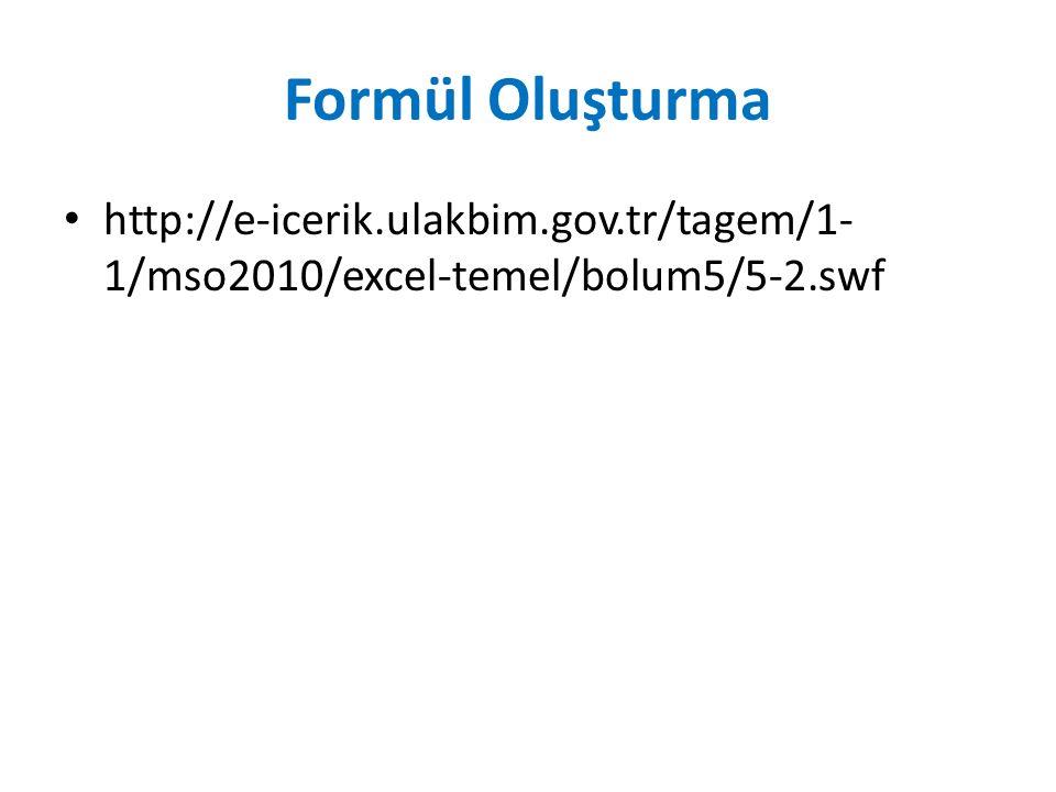 Formül Oluşturma http://e-icerik.ulakbim.gov.tr/tagem/1- 1/mso2010/excel-temel/bolum5/5-2.swf
