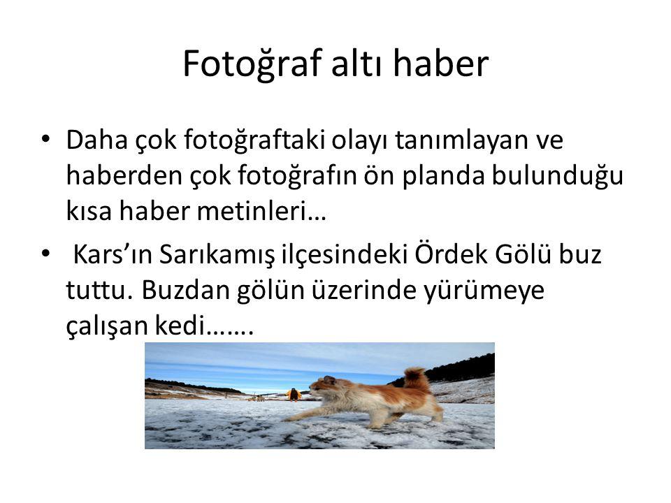 Fotoğraf altı haber Daha çok fotoğraftaki olayı tanımlayan ve haberden çok fotoğrafın ön planda bulunduğu kısa haber metinleri… Kars'ın Sarıkamış ilçesindeki Ördek Gölü buz tuttu.