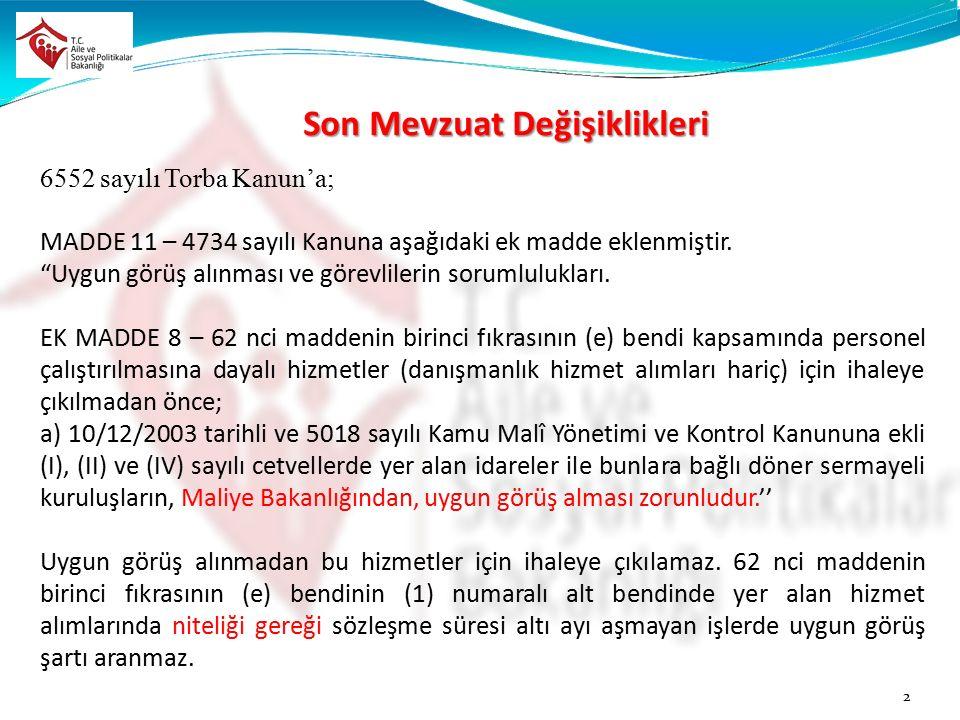 Son Mevzuat Değişiklikleri 6552 sayılı Torba Kanun'a; MADDE 11 – 4734 sayılı Kanuna aşağıdaki ek madde eklenmiştir.