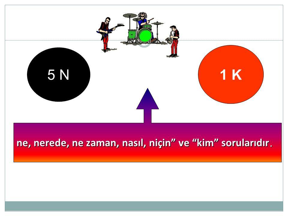 """5 N 1 K ne, nerede, ne zaman, nasıl, niçin"""" ve """"kim"""" sorularıdır."""